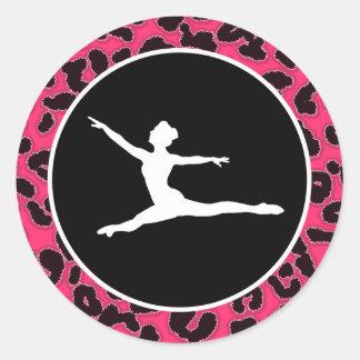 Estampado leopardo de las rosas fuertes; Bailarín Pegatina Redonda