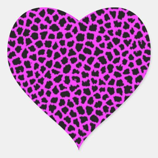 Estampado leopardo de las rosas fuertes pegatina de corazón personalizadas