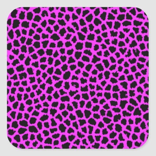 Estampado leopardo de las rosas fuertes calcomanías cuadradas personalizadas