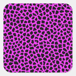 Estampado leopardo de las rosas fuertes pegatina cuadrada