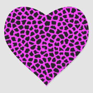 Estampado leopardo de las rosas fuertes pegatina en forma de corazón