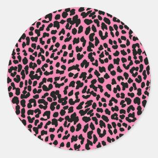 Estampado leopardo de las rosas fuertes pegatina redonda