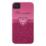 Estampado leopardo de las rosas fuertes y corazón  Case-Mate iPhone 4 fundas
