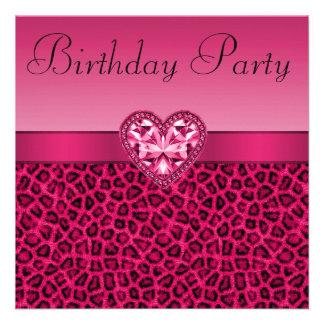 Estampado leopardo de las rosas fuertes y cumpleañ invitaciones personales