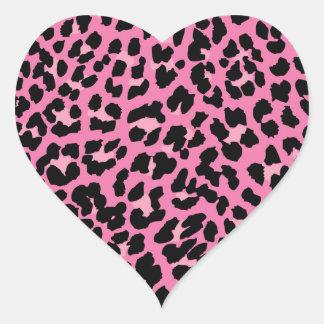 Estampado leopardo de las rosas fuertes y del pegatina en forma de corazón