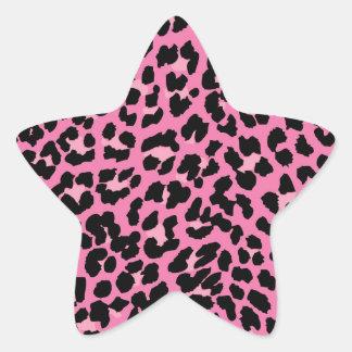Estampado leopardo de las rosas fuertes y del pegatina en forma de estrella