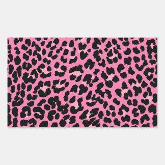 Estampado leopardo de las rosas fuertes y del pegatina rectangular