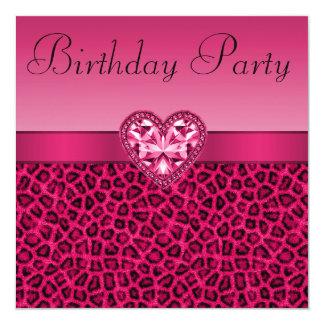 Estampado leopardo de las rosas fuertes y invitación 13,3 cm x 13,3cm