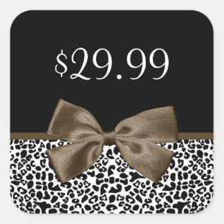 Estampado leopardo de moda de los precios de la pegatina cuadrada