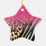 Estampado leopardo de moda femenino impresionante, adorno de cerámica en forma de estrella