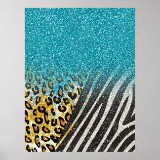 Estampado leopardo de moda femenino impresionante, póster