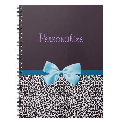 Estampado leopardo de moda y Blue Ribbon con nombr Cuaderno