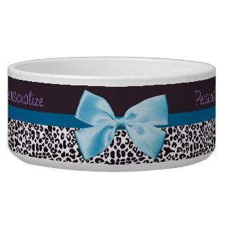 Estampado leopardo de moda y Blue Ribbon con nombr Bol Para Perro