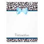 Estampado leopardo de moda y Blue Ribbon con nombr Membrete A Diseño