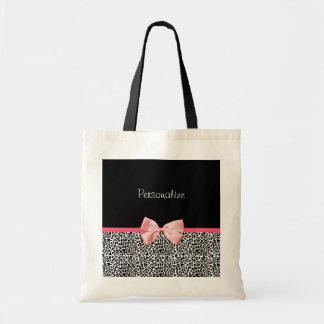 Estampado leopardo de moda y cinta rosada con nomb bolsa de mano