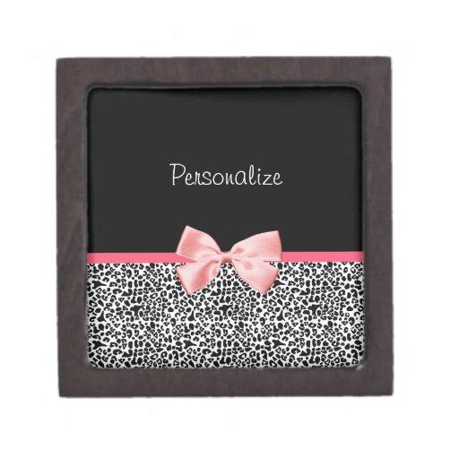 Estampado leopardo de moda y cinta rosada con nomb cajas de recuerdo de calidad