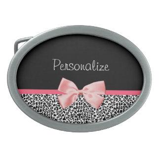 Estampado leopardo de moda y cinta rosada con nomb hebillas cinturón ovales