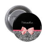 Estampado leopardo de moda y cinta rosada con nomb pin