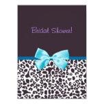 Estampado leopardo de moda y ducha nupcial de Blue Invitación 13,9 X 19,0 Cm