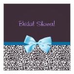 Estampado leopardo de moda y ducha nupcial de Blue Invitación 13,3 Cm X 13,3cm
