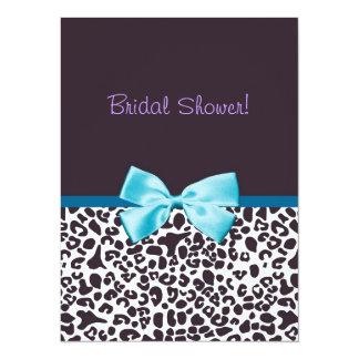 """Estampado leopardo de moda y ducha nupcial de Blue Invitación 5.5"""" X 7.5"""""""