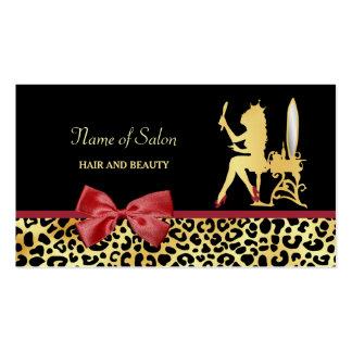 Estampado leopardo de oro de la corona con el tarjetas de visita