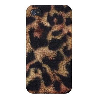 Estampado leopardo del animal de la felpa iPhone 4 fundas
