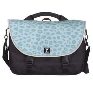 Estampado leopardo del azul de cielo bolsas para portátil