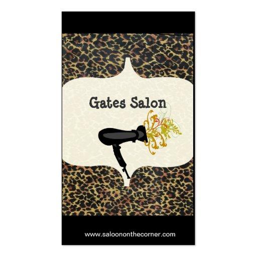 Estampado leopardo del balneario del salón tarjeta de visita