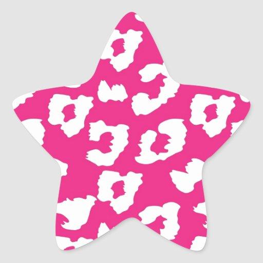 Estampado leopardo del guepardo de las rosas pegatina forma de estrella