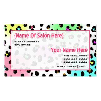 Estampado leopardo del neón de la cita del salón tarjetas de visita
