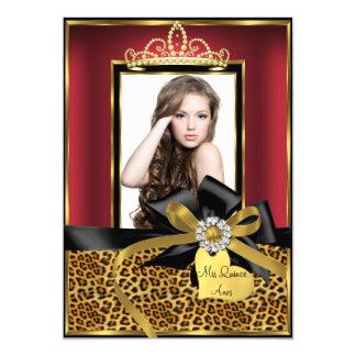 """Estampado leopardo del oro y foto rojos invitación 5"""" x 7"""""""