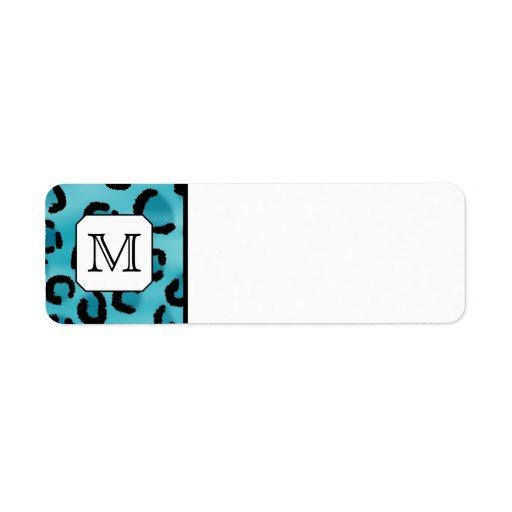 Estampado leopardo del trullo, monograma de encarg etiquetas de remite