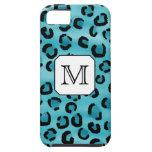 Estampado leopardo del trullo, monograma de encarg iPhone 5 Case-Mate cárcasa