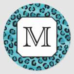 Estampado leopardo del trullo, monograma de encarg etiquetas redondas