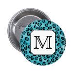 Estampado leopardo del trullo, monograma de encarg pin