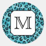 Estampado leopardo del trullo, monograma de pegatina redonda