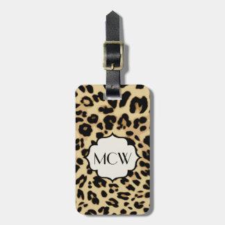 Estampado leopardo descarado con monograma etiquetas bolsa