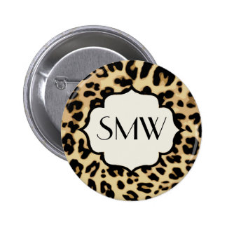 Estampado leopardo descarado con monograma pin redondo de 2 pulgadas