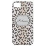 Estampado leopardo elegante con el monograma iPhone 5 cobertura
