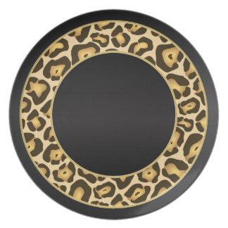Estampado leopardo elegante con negro y oro plato de cena