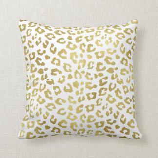 Estampado leopardo elegante del encanto del oro cojín