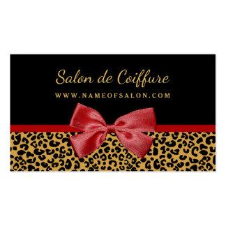Estampado leopardo elegante del oro con el salón tarjetas de visita