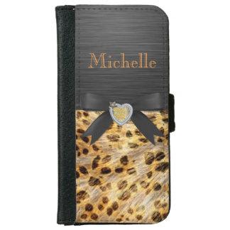 Estampado leopardo elegante en la caja negra de la carcasa de iPhone 6