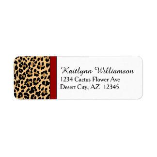 Estampado leopardo elegante y acento rojo etiquetas de remite