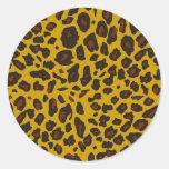 Estampado leopardo etiqueta redonda
