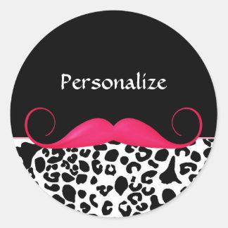Estampado leopardo femenino del bigote rosado de pegatina redonda