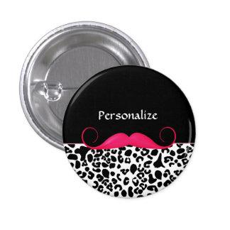 Estampado leopardo femenino del bigote rosado de pin redondo de 1 pulgada