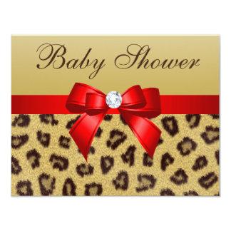"""Estampado leopardo, fiesta de bienvenida al bebé invitación 4.25"""" x 5.5"""""""