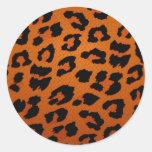 Estampado leopardo grande de moda anaranjado etiquetas redondas